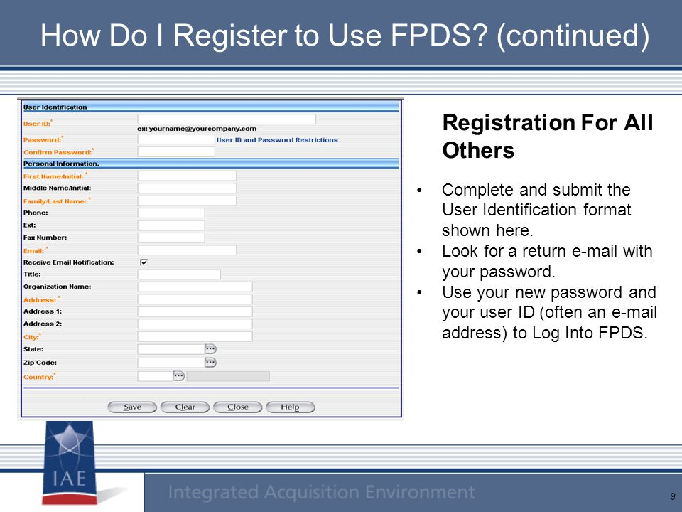How Do I Register to Use FPDS (continued)