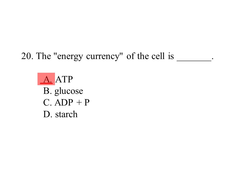 20. The energy currency of the cell is _______. A. ATP B. glucose C