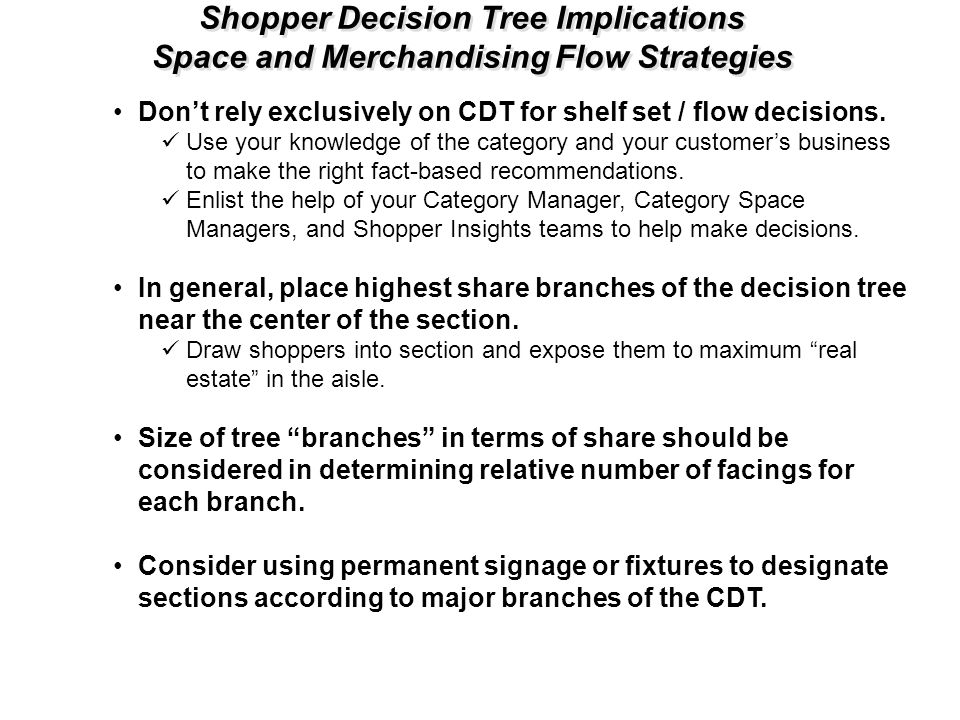 Shopper Decision Tree Implications Space and Merchandising Flow Strategies