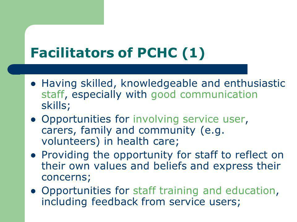 Facilitators of PCHC (1)