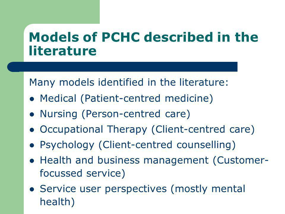 Models of PCHC described in the literature