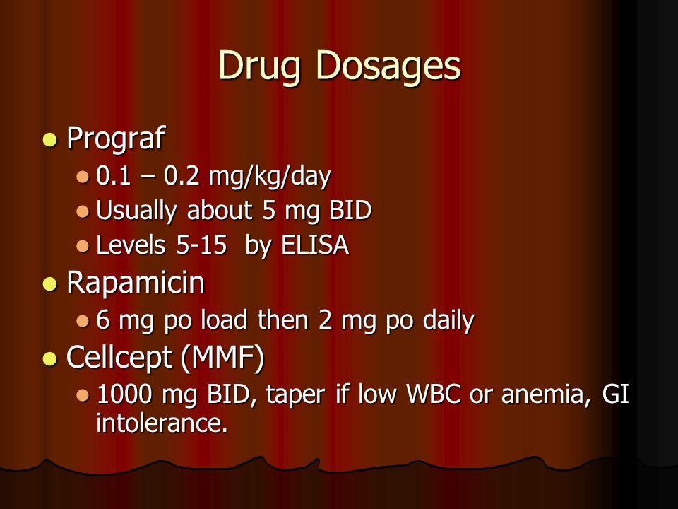 Drug Dosages Prograf Rapamicin Cellcept (MMF) 0.1 – 0.2 mg/kg/day