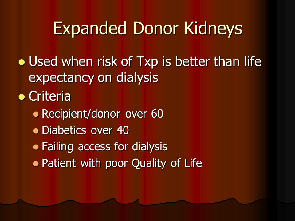 Expanded Donor Kidneys