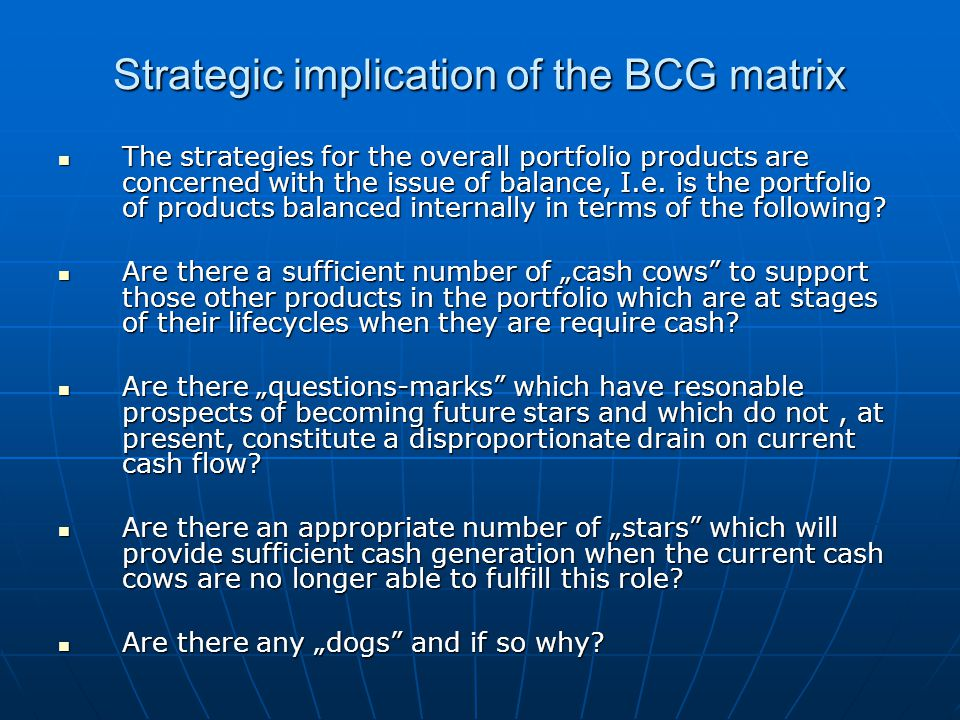 Strategic implication of the BCG matrix