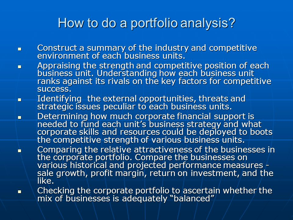 How to do a portfolio analysis