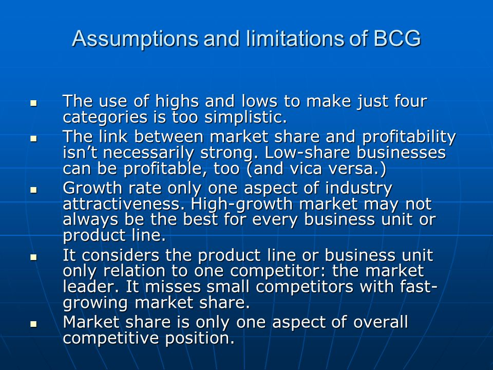 Assumptions and limitations of BCG