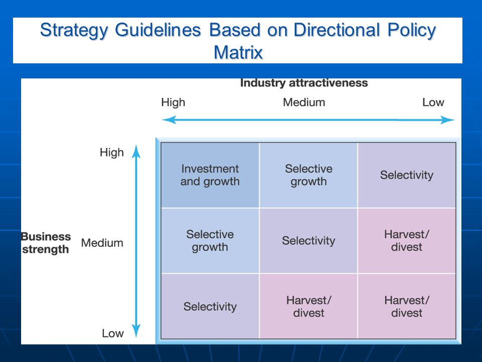Strategy Guidelines Based on Directional Policy Matrix