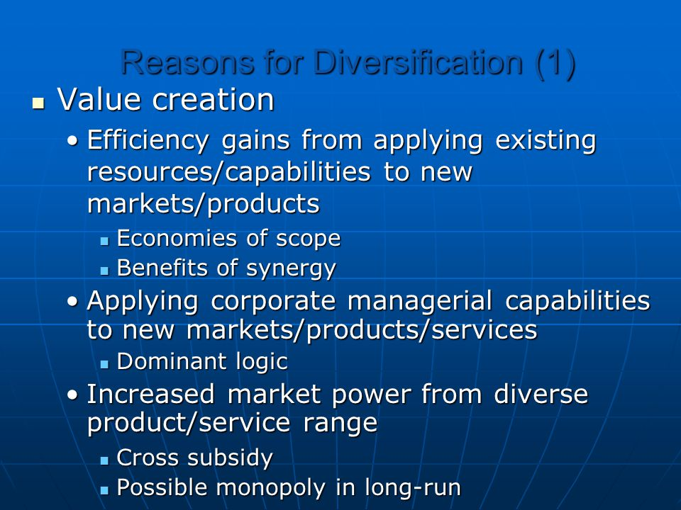 Reasons for Diversification (1)