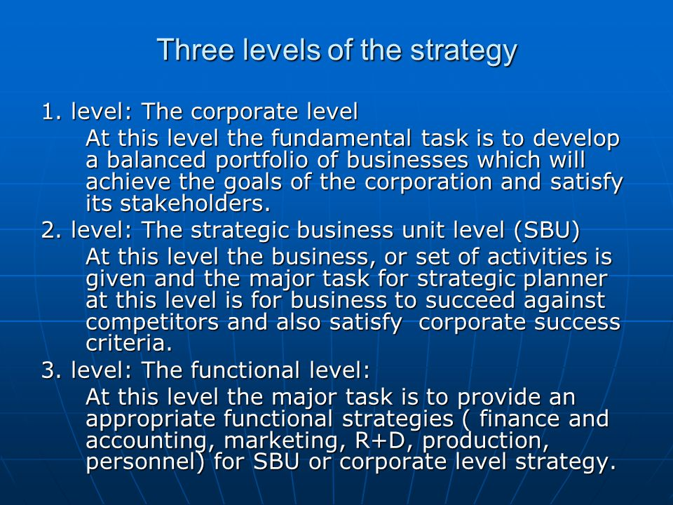 Three levels of the strategy