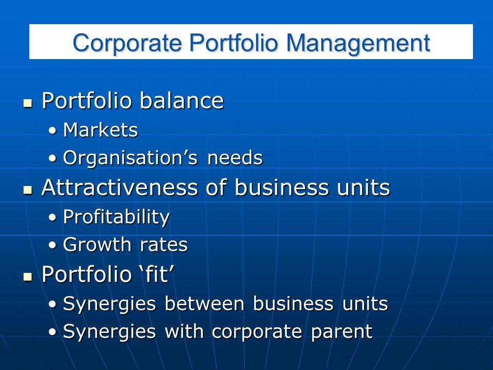 Corporate Portfolio Management