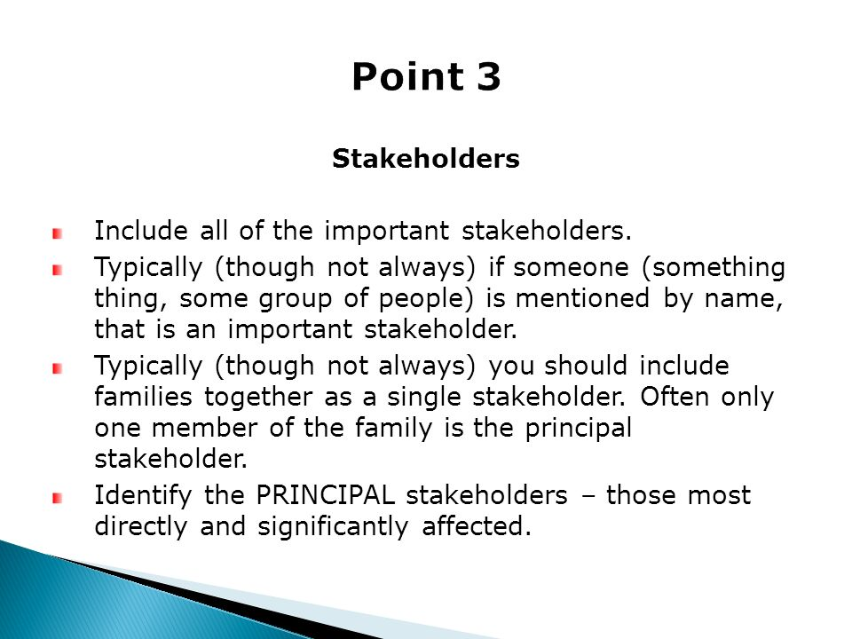Point 3 Stakeholders Include all of the important stakeholders.