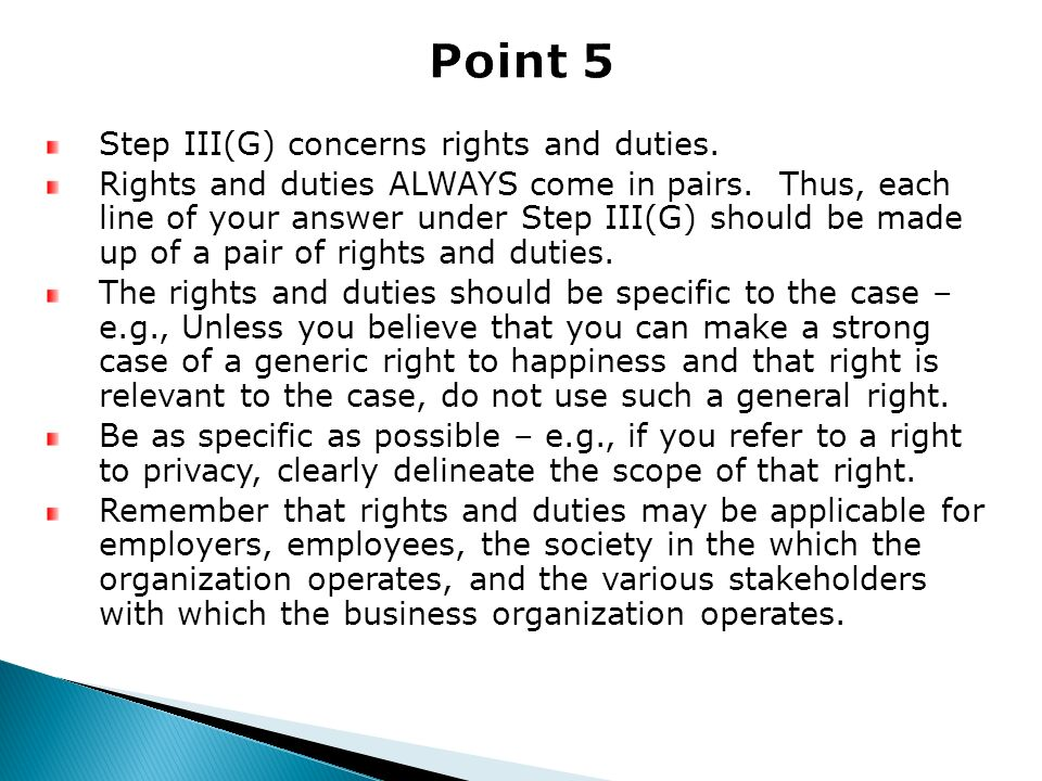 Point 5 Step III(G) concerns rights and duties.