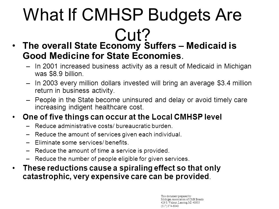 What If CMHSP Budgets Are Cut