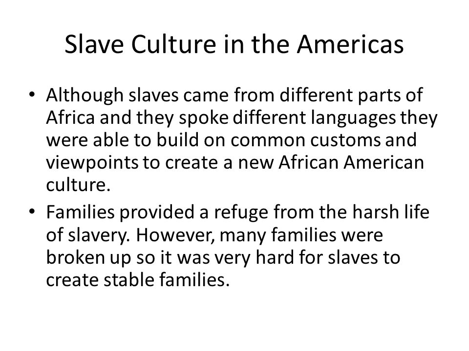 Slave Culture in the Americas