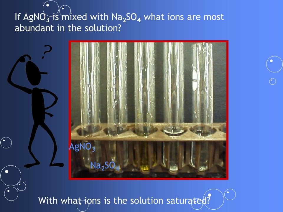 If AgNO3 is mixed with Na2SO4 what ions are most abundant in the solution