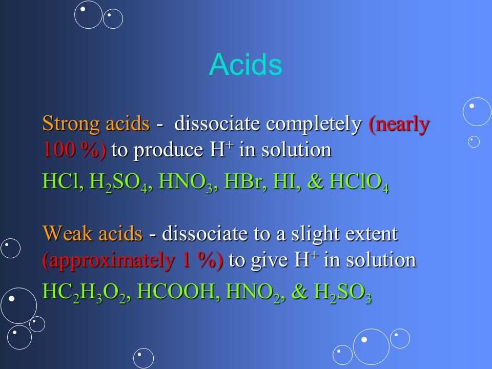 Acids Strong acids - dissociate completely (nearly 100 %) to produce H+ in solution. HCl, H2SO4, HNO3, HBr, HI, & HClO4.