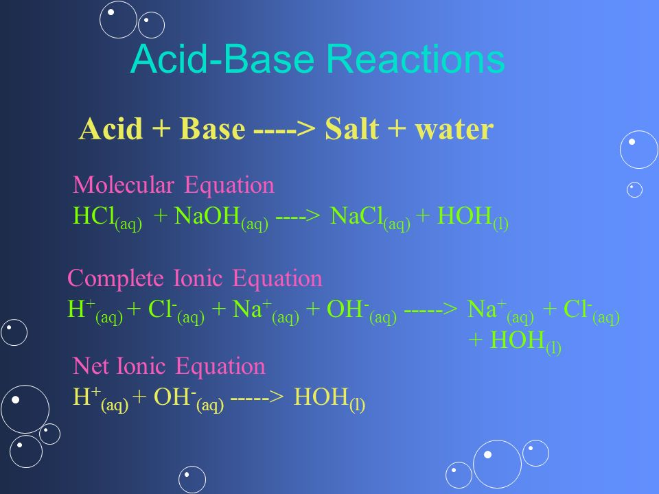 Acid + Base ----> Salt + water