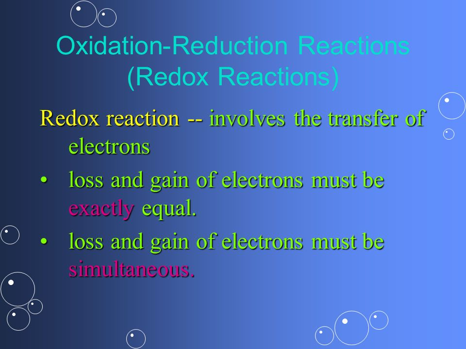Oxidation-Reduction Reactions (Redox Reactions)