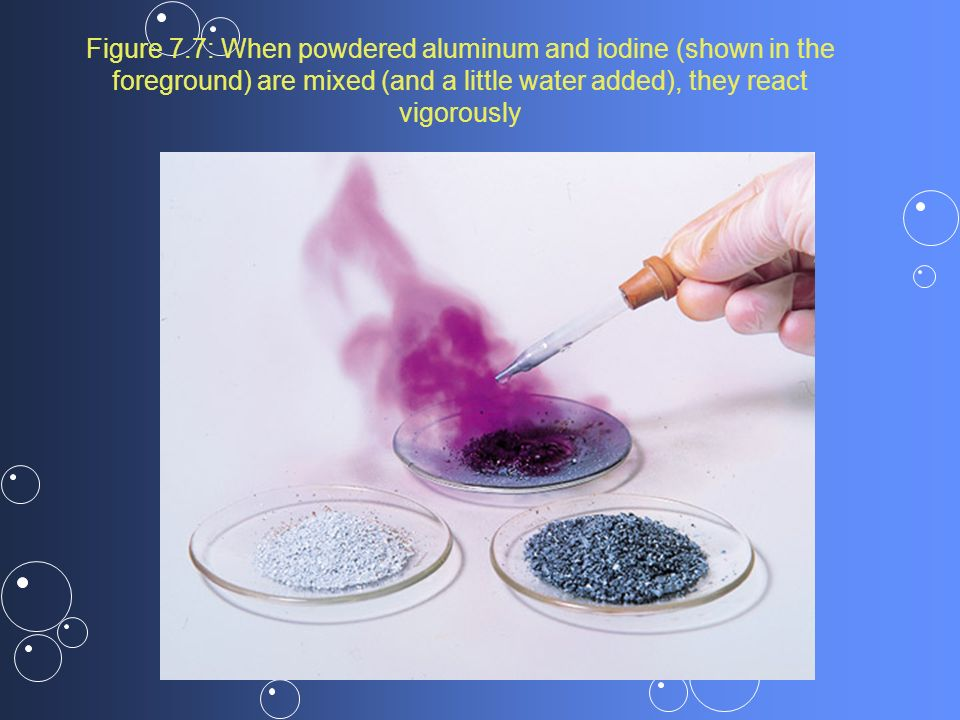 Figure 7.7: When powdered aluminum and iodine (shown in the foreground) are mixed (and a little water added), they react vigorously
