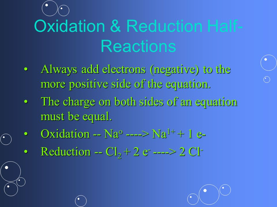 Oxidation & Reduction Half-Reactions