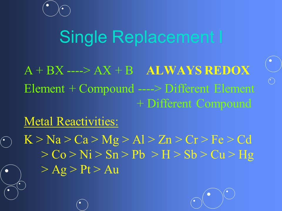 Single Replacement I A + BX ----> AX + B ALWAYS REDOX