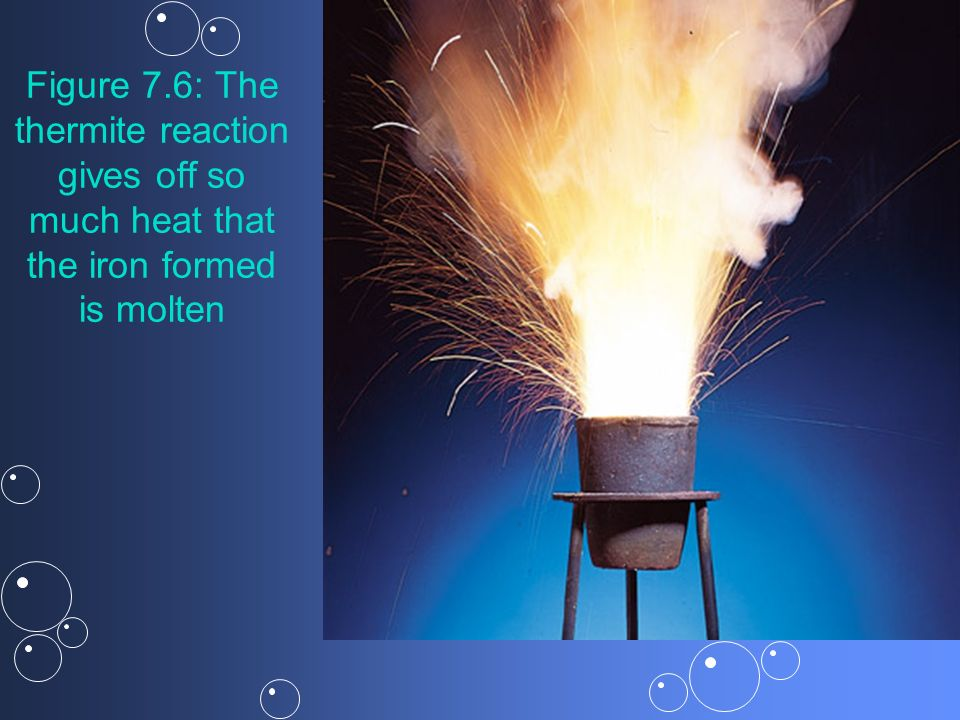 Figure 7.6: The thermite reaction gives off so much heat that the iron formed is molten