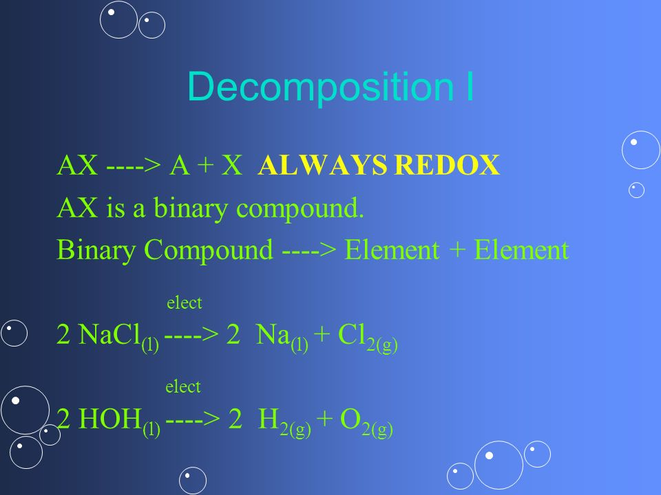 Decomposition I AX ----> A + X ALWAYS REDOX