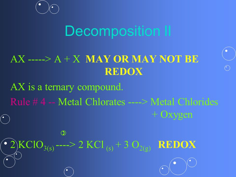 Decomposition II AX -----> A + X MAY OR MAY NOT BE REDOX