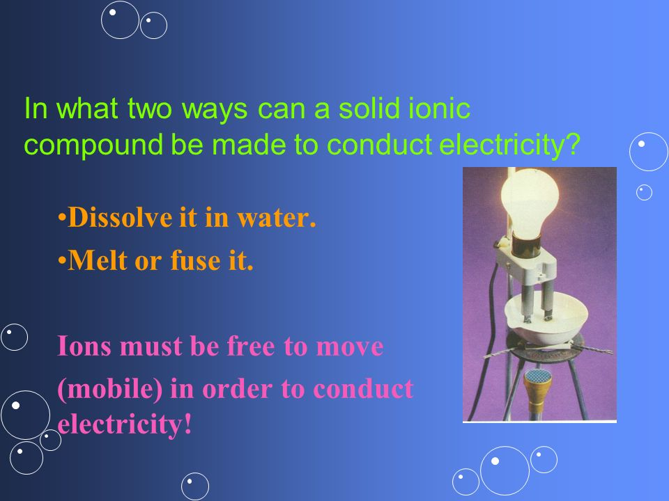 In what two ways can a solid ionic compound be made to conduct electricity