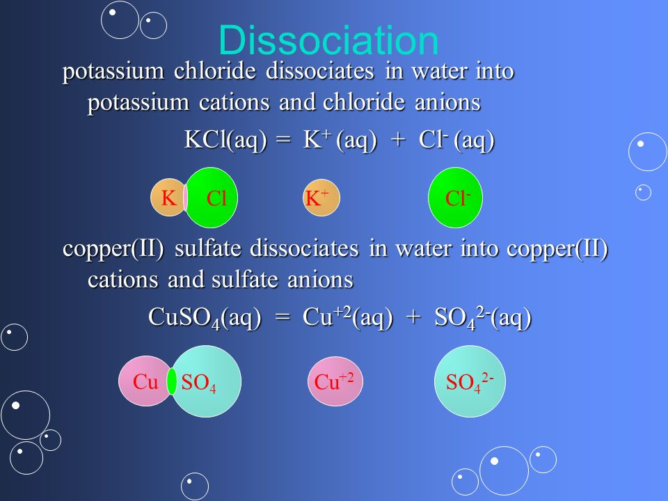 Dissociation potassium chloride dissociates in water into potassium cations and chloride anions. KCl(aq) = K+ (aq) + Cl- (aq)