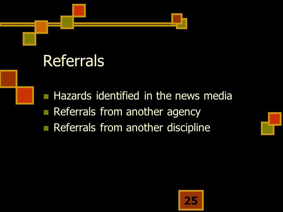 Referrals Hazards identified in the news media