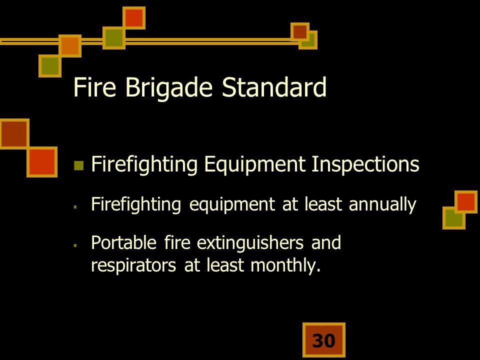 Fire Brigade Standard Firefighting Equipment Inspections