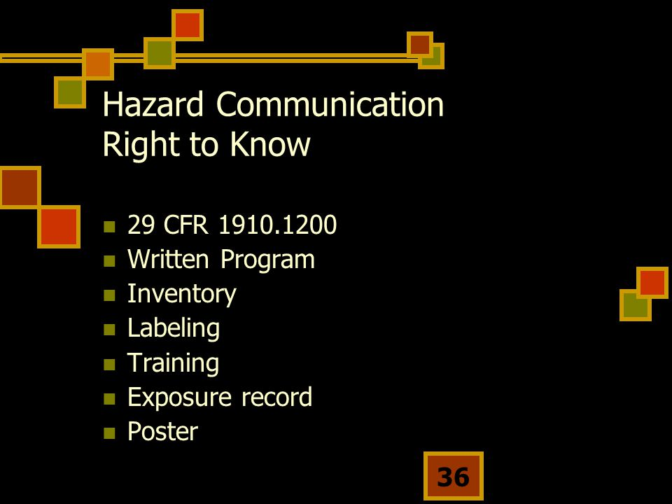 Hazard Communication Right to Know