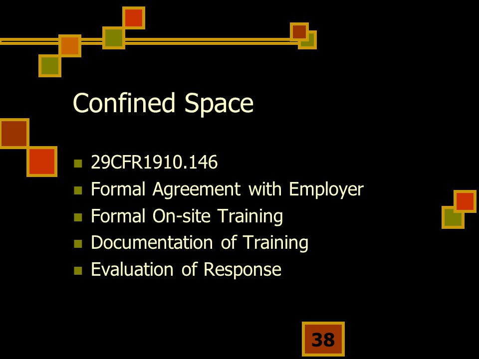 Confined Space 29CFR1910.146 Formal Agreement with Employer