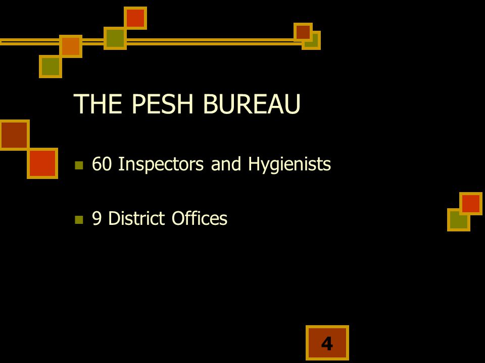 THE PESH BUREAU 60 Inspectors and Hygienists 9 District Offices