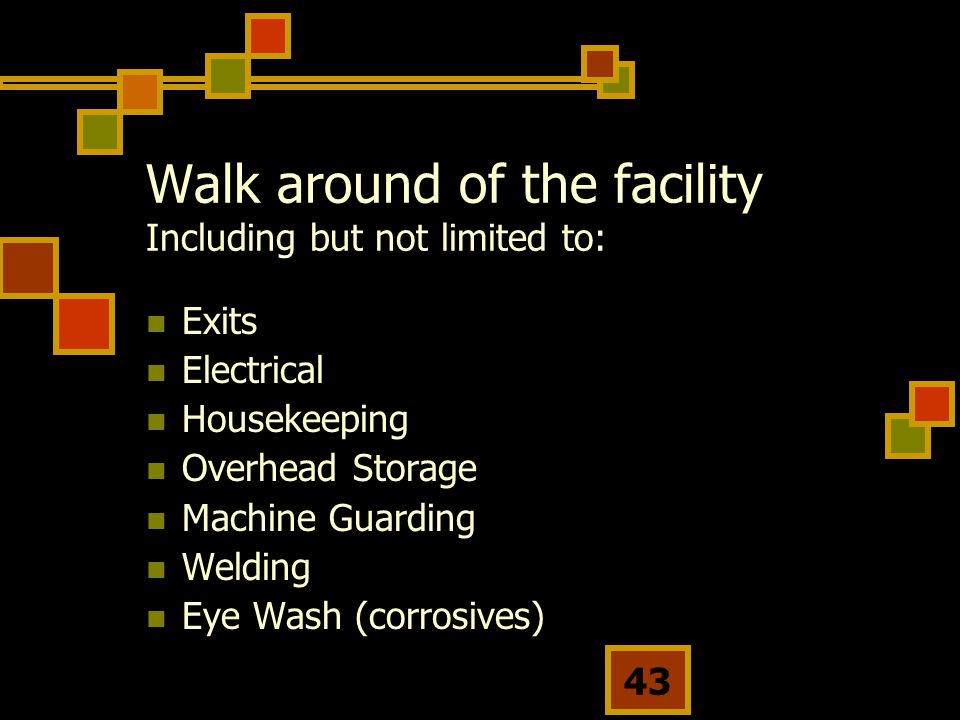 Walk around of the facility Including but not limited to: