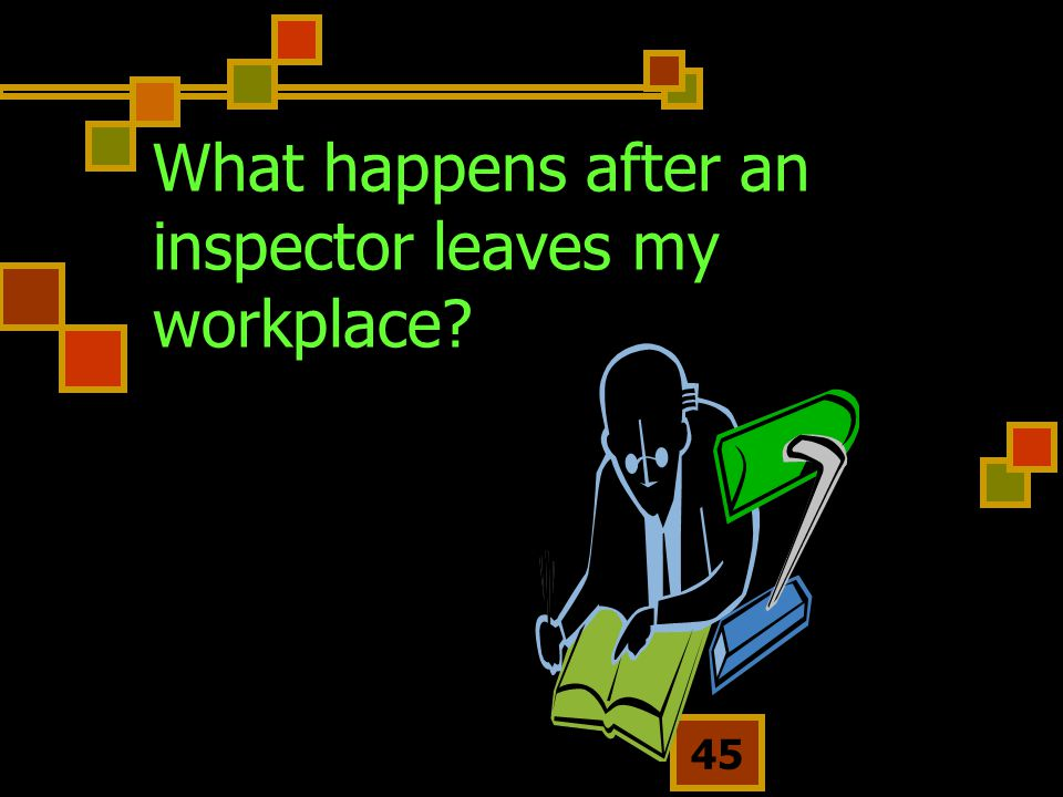 What happens after an inspector leaves my workplace