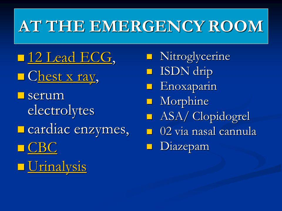 AT THE EMERGENCY ROOM 12 Lead ECG, Chest x ray, serum electrolytes