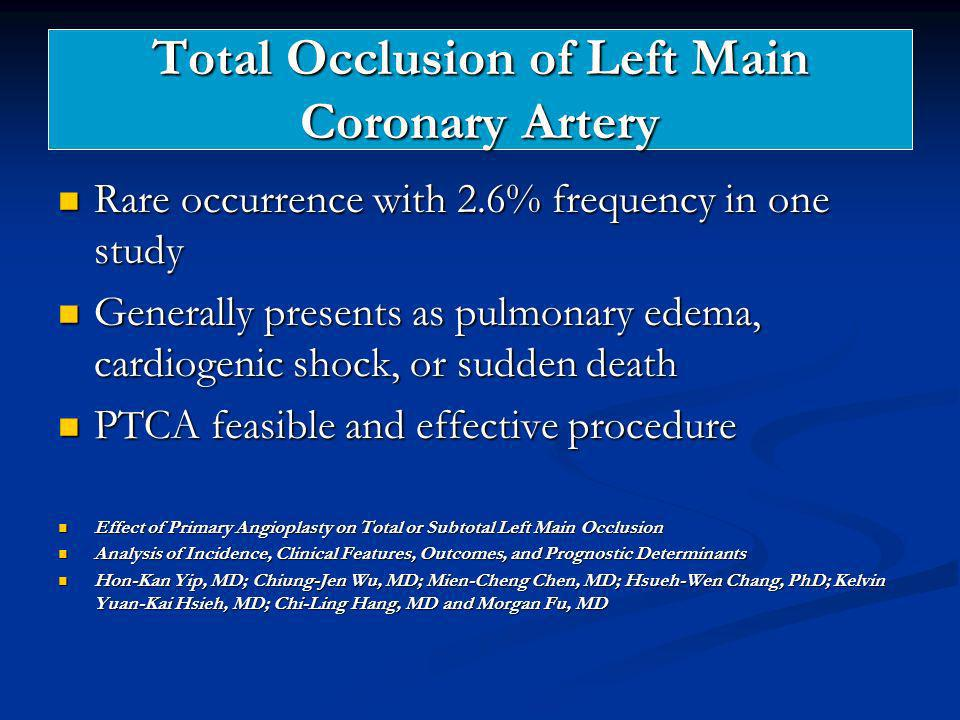 Total Occlusion of Left Main Coronary Artery