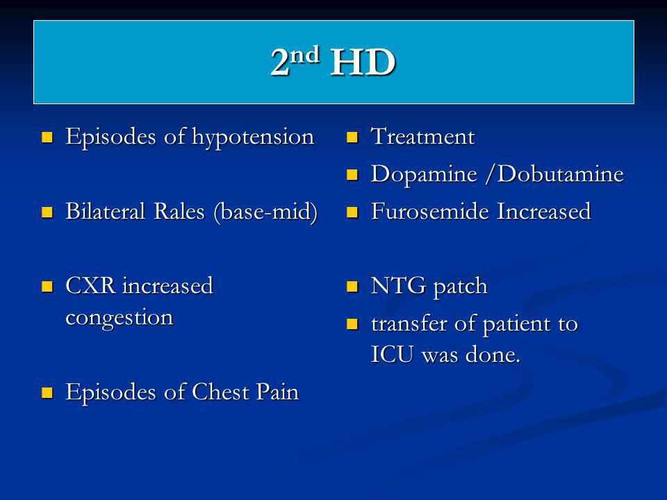 2nd HD Episodes of hypotension Bilateral Rales (base-mid)