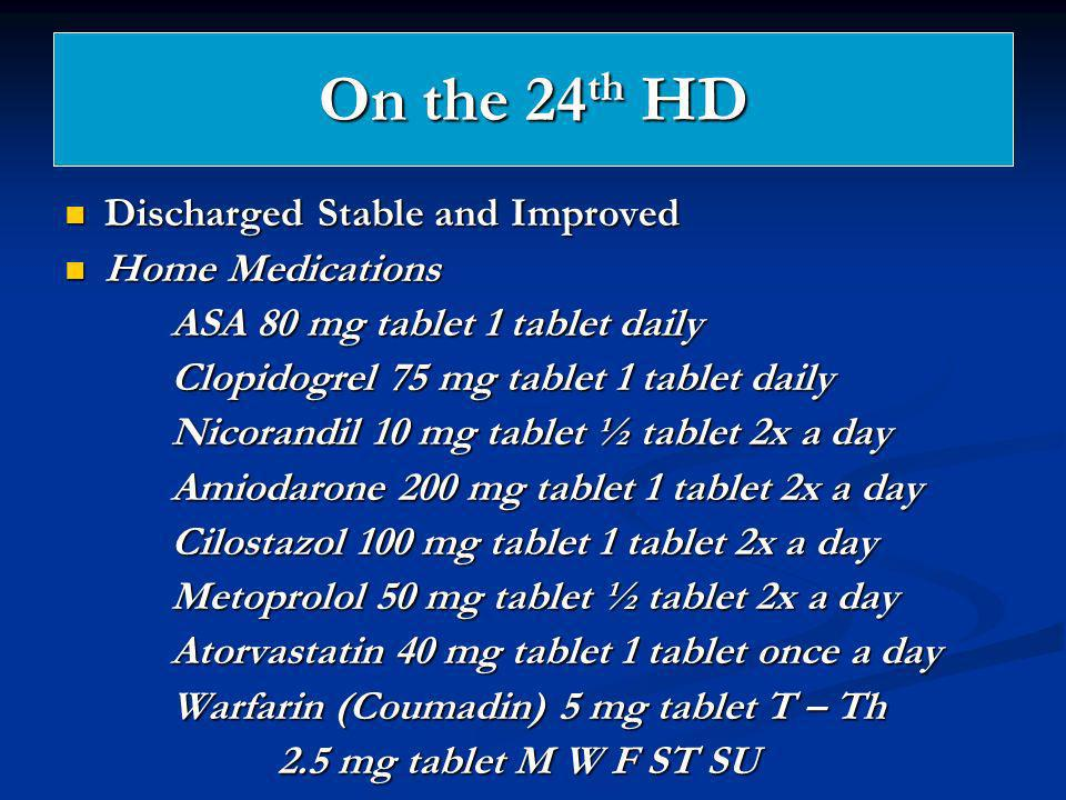 On the 24th HD Discharged Stable and Improved Home Medications