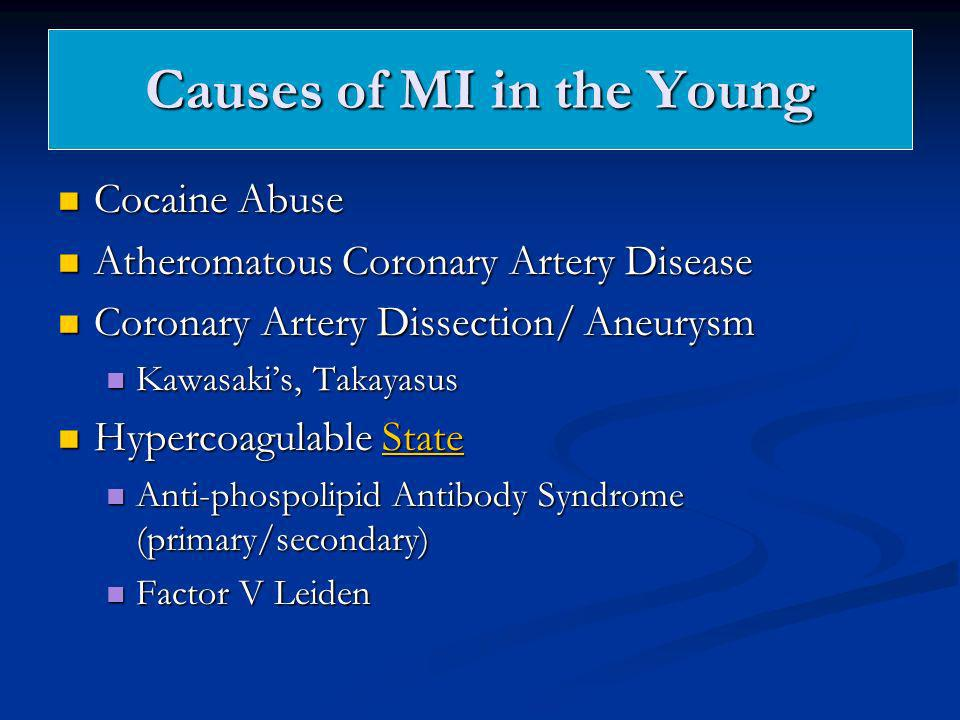 Causes of MI in the Young