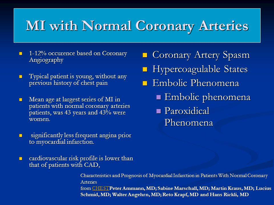 MI with Normal Coronary Arteries