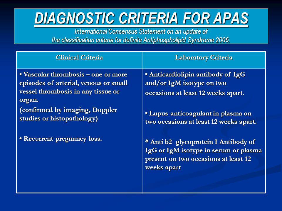 DIAGNOSTIC CRITERIA FOR APAS International Consensus Statement on an update of the classification criteria for definite Antiphospholipid Syndrome 2006.