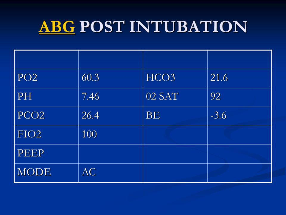 ABG POST INTUBATION PO2 60.3 HCO3 21.6 PH 7.46 02 SAT 92 PCO2 26.4 BE