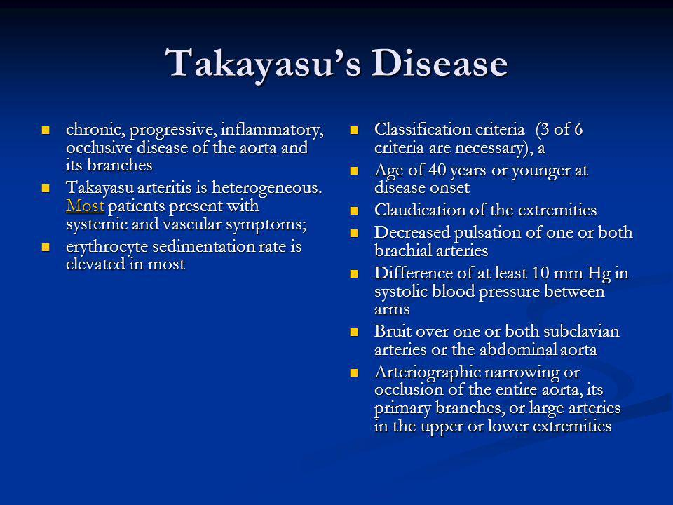 Takayasu's Disease chronic, progressive, inflammatory, occlusive disease of the aorta and its branches.