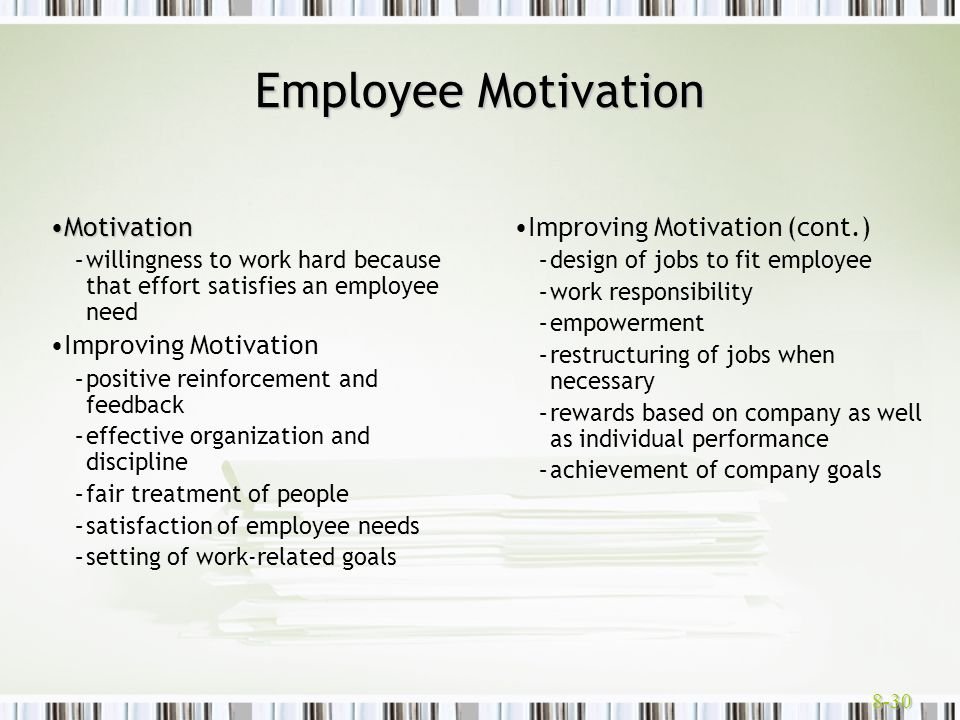 Employee Motivation Motivation Improving Motivation