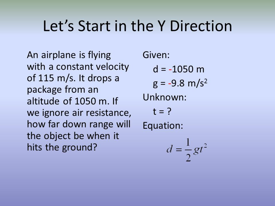 Let's Start in the Y Direction