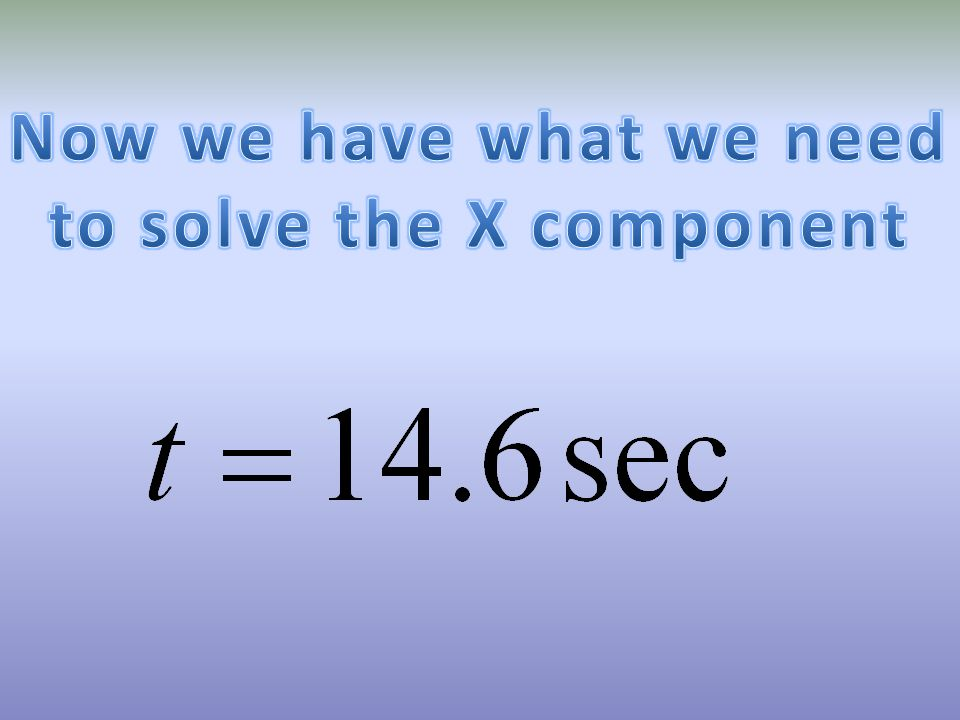 to solve the X component