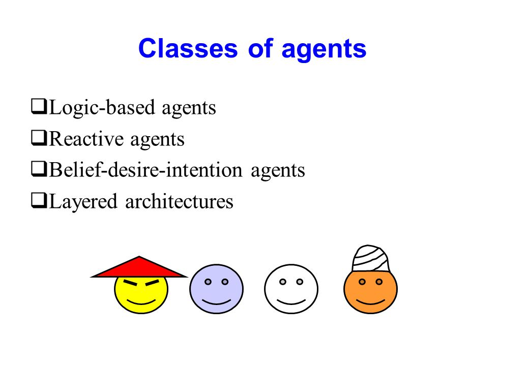 Classes of agents Logic-based agents Reactive agents